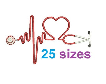 Heart Stethoscope Embroidery Design, Nurse Fill Embroidery Design Instant Download ER1031F1