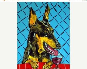 25% off Doberman Pinscher at the Wine Bar Dog Art Print