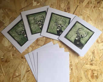 Set of 4. Handmade lino print stag cards.