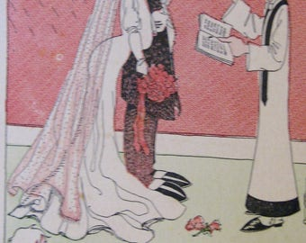 Antique Wedding Postcard Walter Wellman 1908 Wedding Cartoon Valentine
