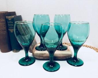 Vintage Libbey Juniper Green Wine Water Goblets with Gold Rim 12 oz. set of 5