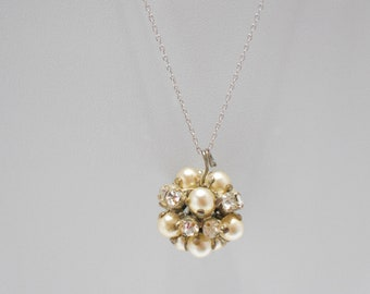 Gorgeous Faux Pearl & Rhinestone Pendant Necklace (5192) Sterling Chain