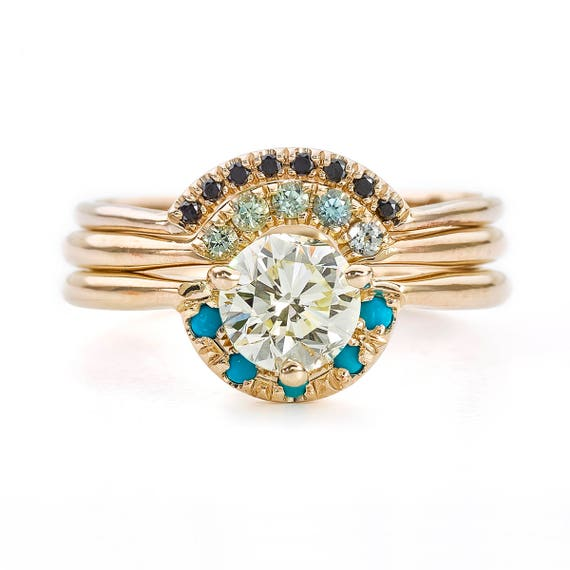 Three Ring Wedding Set Diamond Turquoise Ring Turquoise