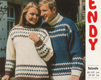 His And Her Sweaters | Original 1970's Vintage Knitting Pattern | 34 - 42 Inch Chest | Wendy 1596