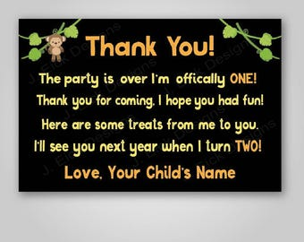 Jungle Safari birthday party favor tags, Safari first birthday party decorations, Jungle thank you cards, safari theme birthday, Printable