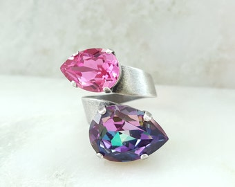 Pink Statement Ring - Swarovski Pink Crystal Ring - Amethyst Teardrop Ring - Tanzanite Jewelry - Pink Tourmaline Ring - Alexandrite R2012