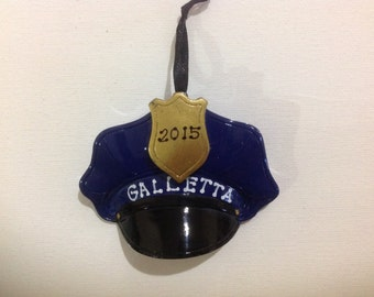 Personalized Christmas Ornament Policeman Hat Chief Lieutenant gift- Free Personalization