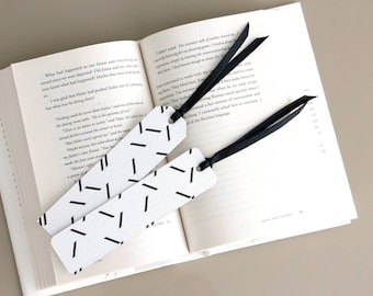 Black & White Herringbone Paper Bookmark with Satin Ribbon