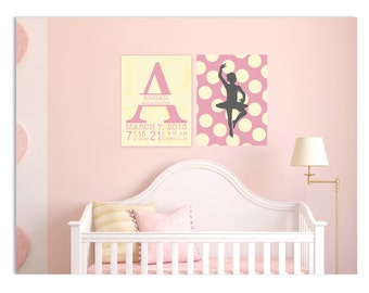 Nursery art, monogram nursery, polka dot nursery art, baby birth stats, ballerina nursery, set of 2 prints