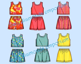 Simplicity 5497 Girls Tops with Shaped Back & Pull-on Shorts Childs sizes 3 4 5 6 7 8 It's So Easy Sewing Pattern Uncut FF