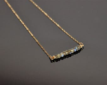 14/20 gold filled (or sterling silver) chain necklace with labradorite beads