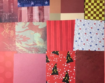 Rocking Red Bits & Bobs Junk Journal Scrapbook Collage Paper Assortment