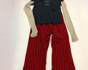 Handmade Wide Legged cotton knit Bold Striped Pants XL