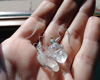 Clear Crystal Quartz, wire wrapped earings, Gemstone Jewelry, Crystal Earings, Festival Jewelry, Hippie Jewelry