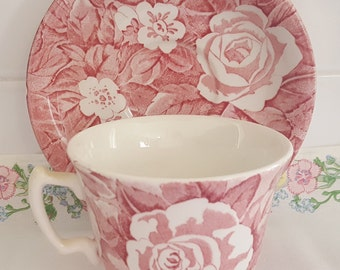 Vintage Burleigh Victorian Chintz Red Rose Pattern Tea Cup and Saucer - Made in England