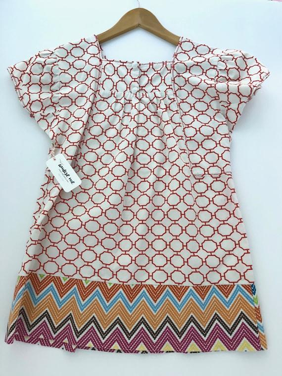 Girls Mix-print Dress - Red Girls Dress - Organic Cotton Kids - Cool Kids Clothes - Classic Girls Dress - Girls Boho Dress