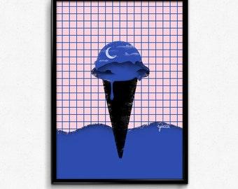 Digital Because The Night Minimal Ice Cream Print