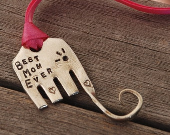 Best Mom Ever ELEPHANT Ornament or Bookmark with Pink Ribbon hand stamped made from FORK recycled Hearts and EYELASHES
