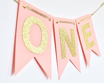 Peach/Light Coral and Gold Year Banner, High Chair Banner, Birthday Banner, Photo Prop, First Birthday