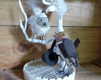 Marriage - 2 birds - Cake topper - Cake Decoration - paper mache