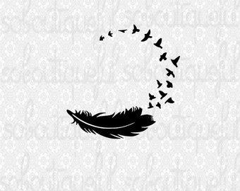 Feather and bird monogram svg - bird and feather svg