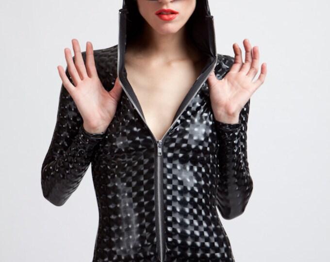 Featured listing image: Stretch Vinyl Black Mind Warping Robot Lover Futuristic Cyborg Bodysuit