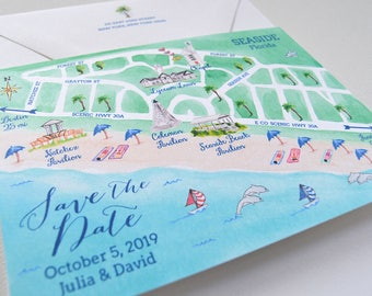 Destination Wedding Save The Date, Illustrated Wedding Map Save The Date, Save The Date Cards, Beach Wedding, Seaside Florida