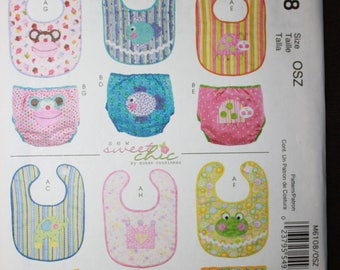 McCalls 6108   Infants Bibs and Diaper Covers in Sizes NB, S, M, L