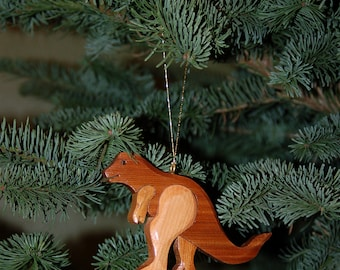 Handmade T- REX ORNAMENT Wood Carving