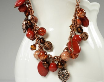Red Jasper Bracelet with Copper Charms Pearls Wire Wrapped