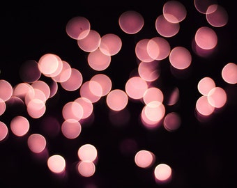 """Bokeh photography - pink lights - abstract wall art print - sparkle - pink and black wall art """"Pink Champagne"""""""