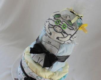 2 floors Zebra theme diaper cake