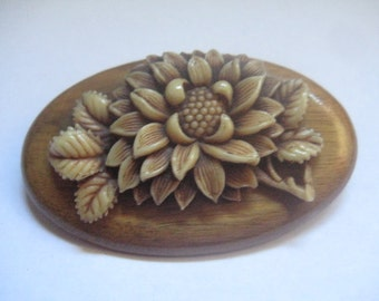 Tea Stained Ivory Celluloid or Bakelite Flowers on Wooden Oval Brooch
