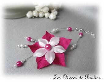 Fuchsia wedding bracelet and white flower satin Julia c.