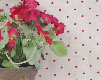 Robert Allen Woven Brick Red Polka Dot Fabric