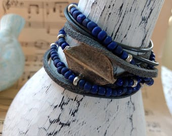 Boho Leather and Antiqued Silver Focal Wrap Bracelet, Multi Strands of Leather and beads in shades of blue, gray and silver!
