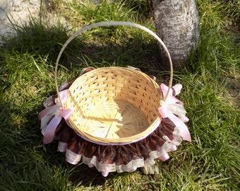 Tutu Basket ChocoPink, Handle Basket Tutu,Organza Tutu Basket, Baby Shower Basket,Birthday Gift Basket