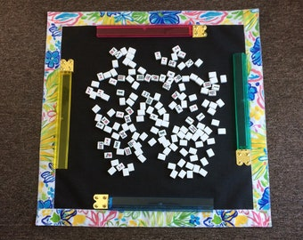 Pastel Flower Table Screen Mat with Matching Carry Strap Made by a Mahjong Player FREE SHIPPING!