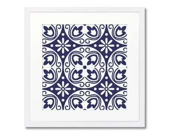 Blue Tiles Framed Print, Spanish Tiles, Vintage Wall Decor, Graphic Pattern, Print With Frame, Wall Decoration