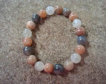 Feminine Energy, Power & Strength Single stretch bracelet Peach White Moonstone Sunstone Labradorite chakra and healing bracelet metal free