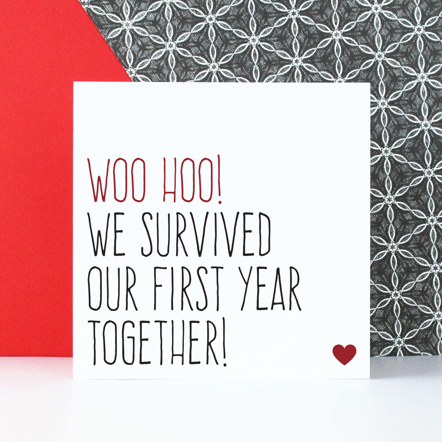 Funny first anniversary card or gift for boyfriend