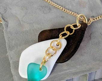 Brown Sea Glass Dangle with White Shell and Blue Sea Glass Necklace // Gold Chain // Gifts for Her // Unique // Beach Glass // Handmade