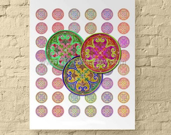 Abstract Rosemaling Designs * Bright 1 Inch Round Digital Collage Sheet for Jewelry, Scrapbooks and Crafts *  Printable, Instant Download!