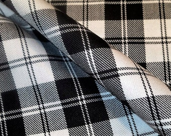 Sale by 5 Yard Menzies Black Tartan Plaid Poly Viscose Fabric~Suiting Suit Kilt Skirt Fabric~Black White Plaid wedding fabrics@sohoskirts