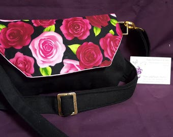 Red Rose Black Small wristlet/Cross body Bag with snap closure - Cotton fully lined with Gold colour hardware to be added or removed
