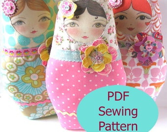PDF Sewing Pattern - Matryoshka Doll with Flower Embellishments Sewing Pattern
