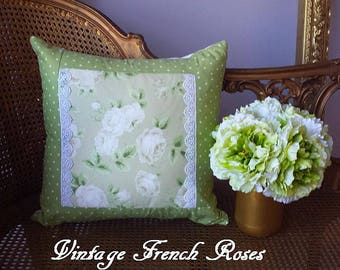Vintage Green Cream Roses Pillow Cover 18X18 Polka Dot Lace Pillow Decor Shabby Chic Romantic French Country Farmhouse Cottage Style Decor