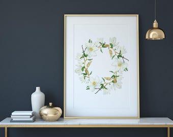 Magnolia Wreath Wall Art Print, Wall Decor, Printable. Instant Digital Download
