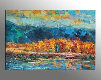 Large Painting, Large Wall Art Painting, Abstract Oil Painting, Oil Painting Landscape, Original Painting, Autumn Landscape, Moutain