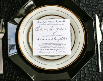 """Black and Gold, Wedding Script Thank You, Wedding Table Decor, Table Sign  """"Modern Calligraphy"""" Reception Thank You Sign 5.25x5.25 - DEPOSIT"""